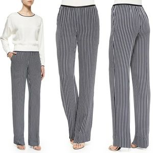 Theory navy and white striped flowy pants